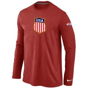 Nike Team USA Hockey Winter Olympics KO Collection Locker Room Long Sleeve T-Shirt Red